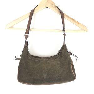 Fossil Olive Green Suede Purse Handbag Bag